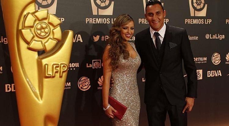 Keylor Navas and his wife, model Andrea Salas