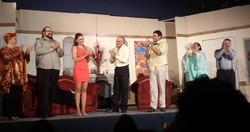 The cast of Un Crimen Perfecto playing now at Teatro Valzar at Plaza Mayor in Rohrmoser.