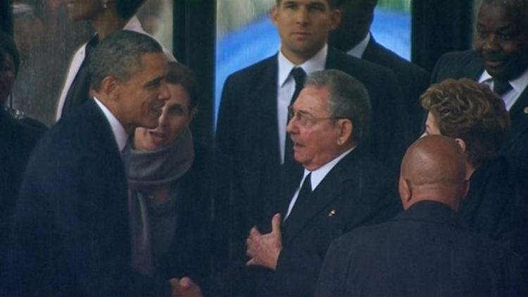 Barack Obama and Raul Castro met a year ago at Nelson Mandela's funeral