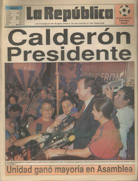 Calderón on election night in 1990 upon winning the presidential election