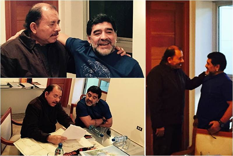 Former soccer star Diego Maradona chums it up with President Daniel Ortega last week.