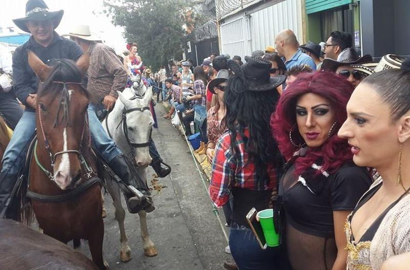 A commotion was stirred by some of the tranvestites working at Puchos, as the parade went by the favourite gay strip club.