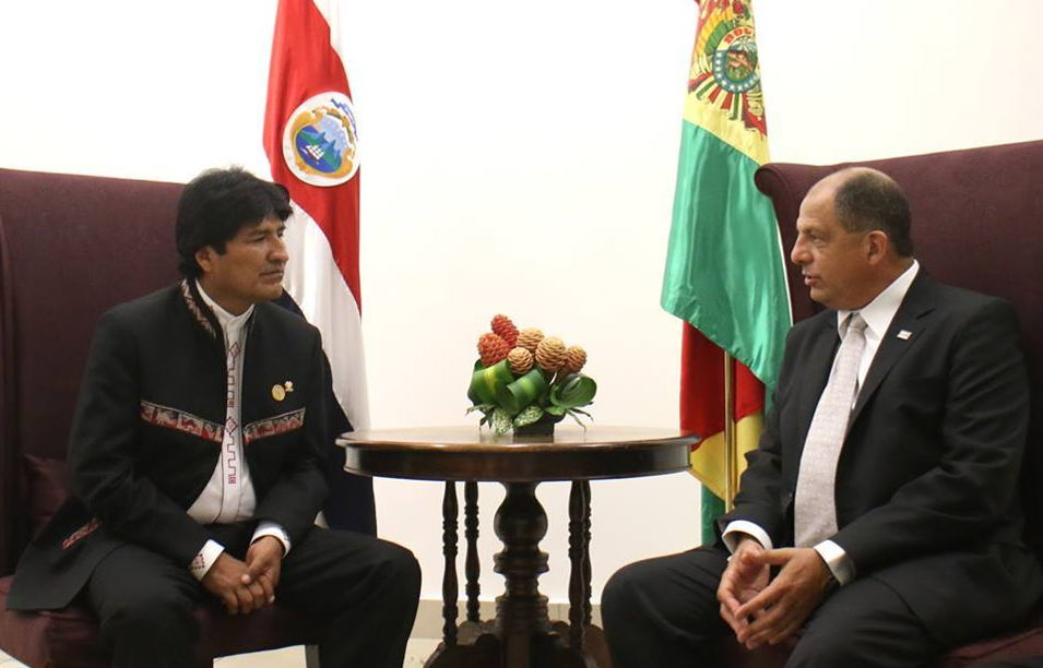 Bolivia's president, Evo Morales (left) and