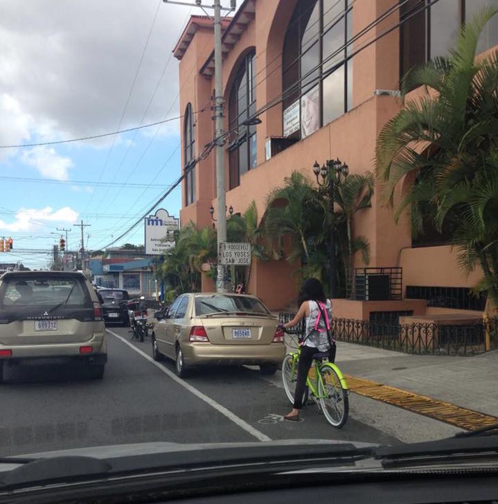 Only in Costa Rica: Bike Path or Parking Space?