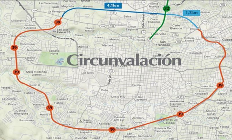 The Cirunvalación. Red indicates the built portion, Blue bogged down in red tape for more than a decade