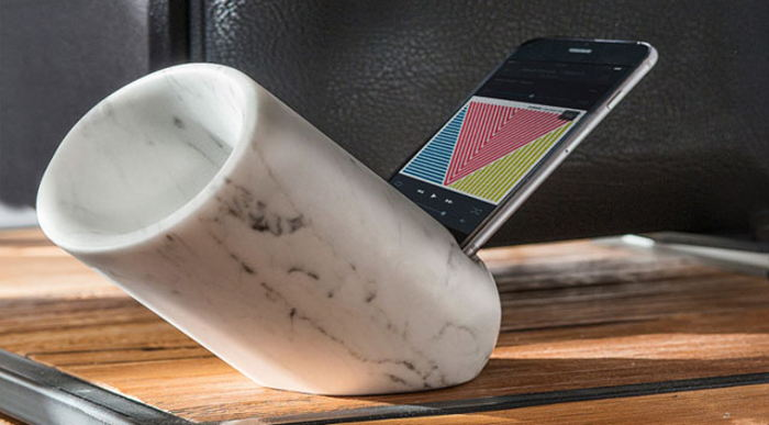 Marble Amplifier Speaker for iPhone Simple and Tasteful