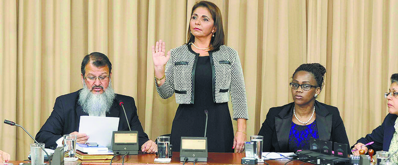 Attorney General Ana Lorena Brenes being sworn in by the Commission on Public Expenditures on Wednesday.