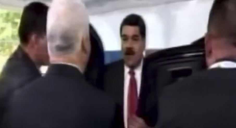 The President of Venezuela, Nicolas Maduro stepping out of the driver's seat of the SUV as he arrices for the CELAC summit. Where was the secuirty threat?