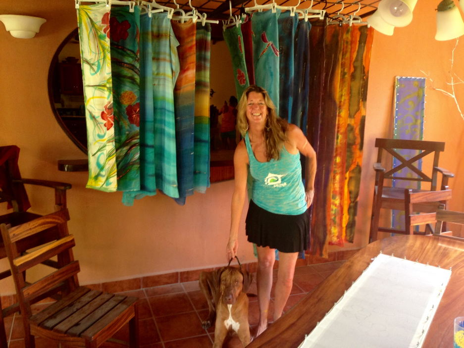 Janey Harrington and Obi in her home in Playa Guiones. Photo: Andrea Crossan