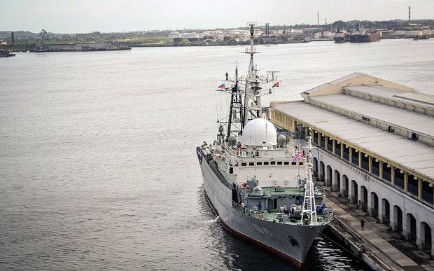 The Russian intelligence warship Viktor Leonov CCB-175 remains docked at the port of Havana, on January 20 Photo: AFP