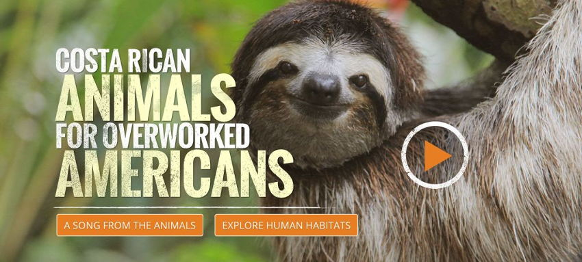 Front page of Savetheamericans.org, promoting US tourism to Costa Rica