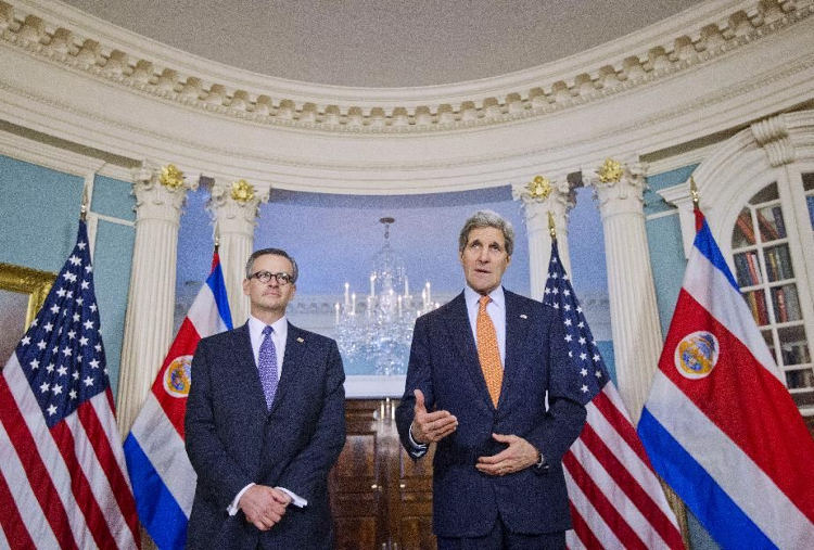 Secretary of State John Kerry and Costa Rican Foreign Minister Manuel Gonzalez Sanz meet with reporters prior to their meeting at the State Department in Washington, Friday, Feb. 20, 2015. (AP Photo/Pablo Martinez Monsivais)