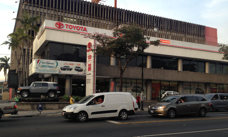 Purdy Motors on Paseo Colon. Purdy is the Toyota franchisee in Costa Rica.