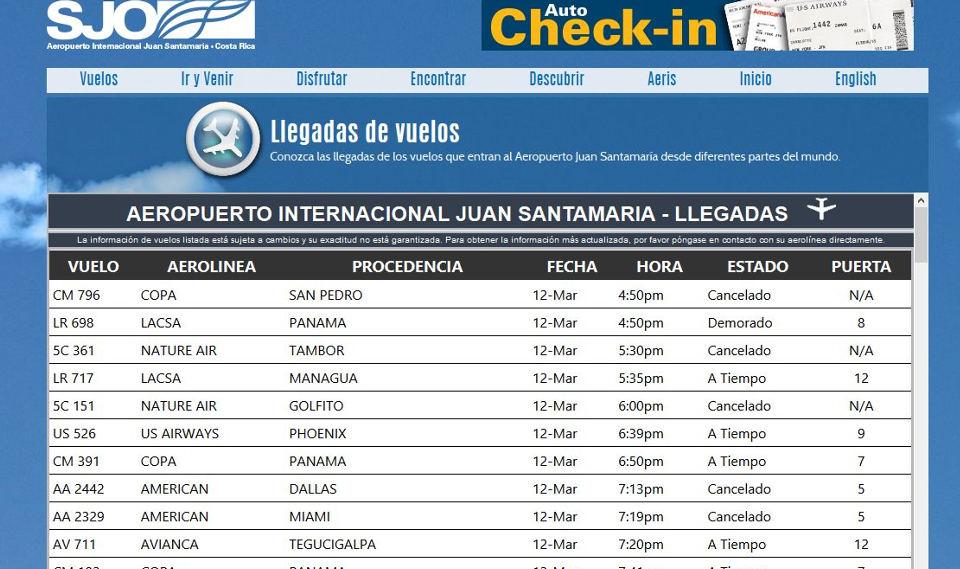 Screenshot of San Jose airport flight information