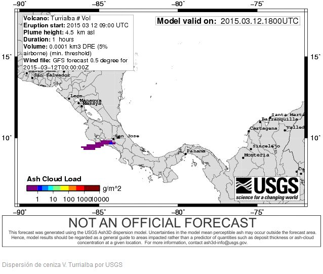 Turrialba ash disperson map by the USGS