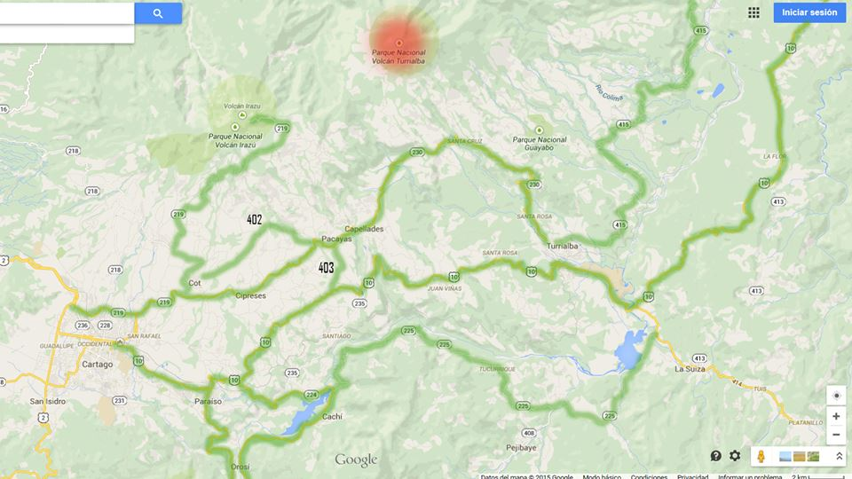 Evacuation route elaborate by the MOPT from the Turrialba volcano in the event of an emergency.