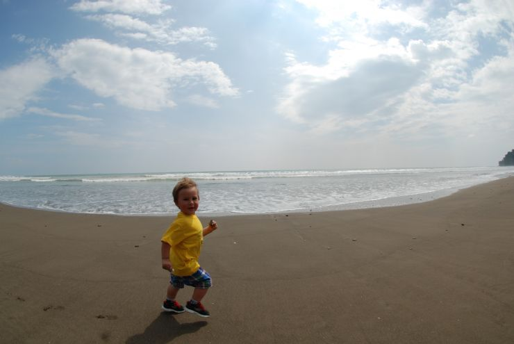 Toddler Running on Beach in Costa Rica