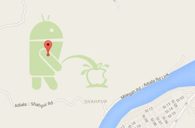 On Google Maps : Android Bot Peeing On An Apple Logo