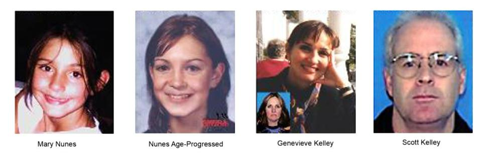 Mary Nunes was taken from her New Hampshire home in 2004 by her mother Genevieve Kelley nd step-father Scott Kelley. Her mother surrendered to authorities last November and Scott Kelley surrendered to the U.S. Embassy in Costa Rica Monday.