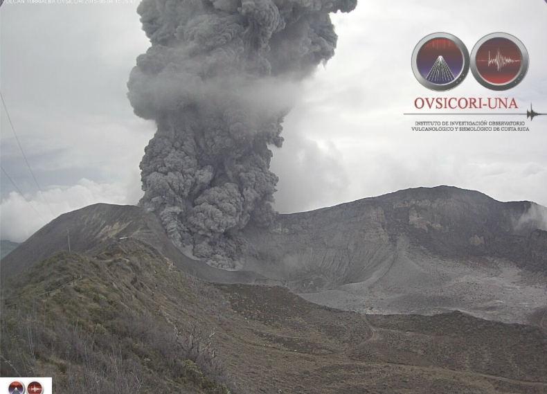 Turrialba Spews Ash and Rocks