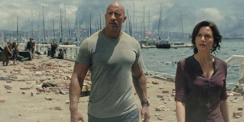 "Dwayne Johnson and Carla Gugino in ""San Andreas."" Credit Warner Bros. Pictures"