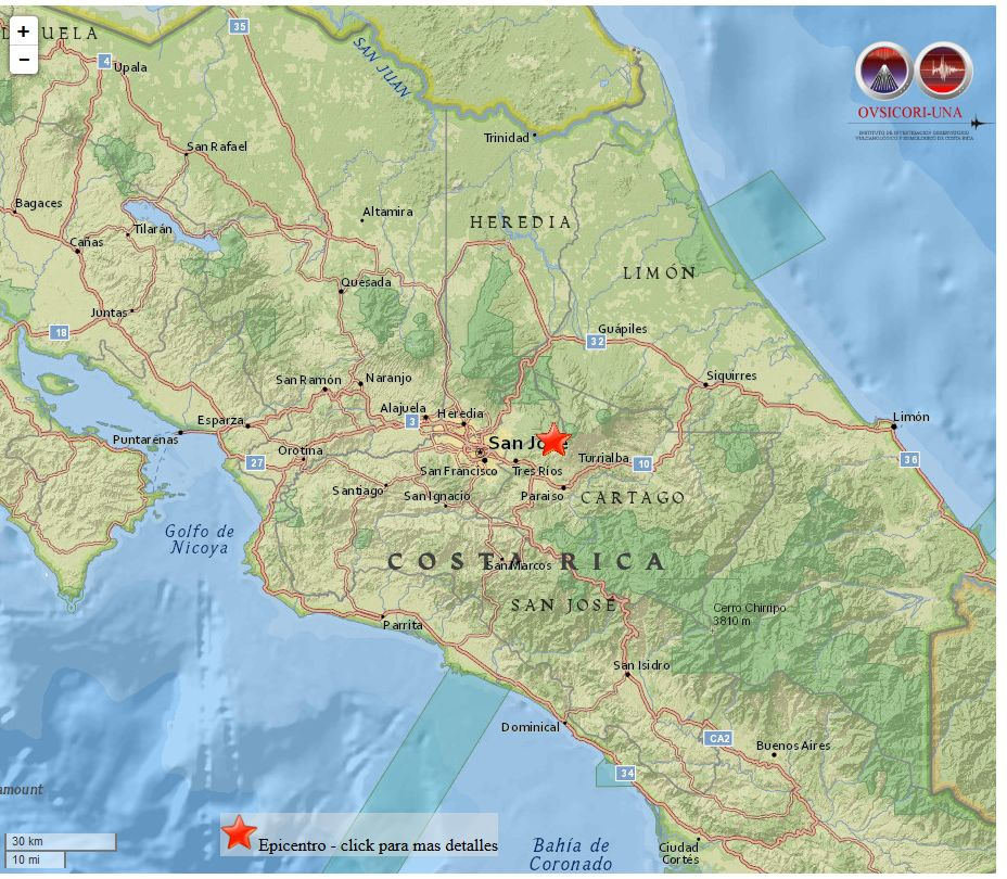 A Moving Night: Tremors in Cartago and Parrita