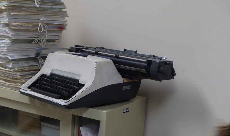 The typewriter still in use at the Limong courthouse, posted on Facebook.