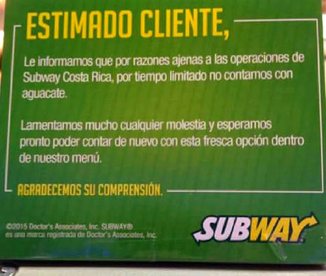 Sign posted in Subway restaurant window. Photo from Facebook