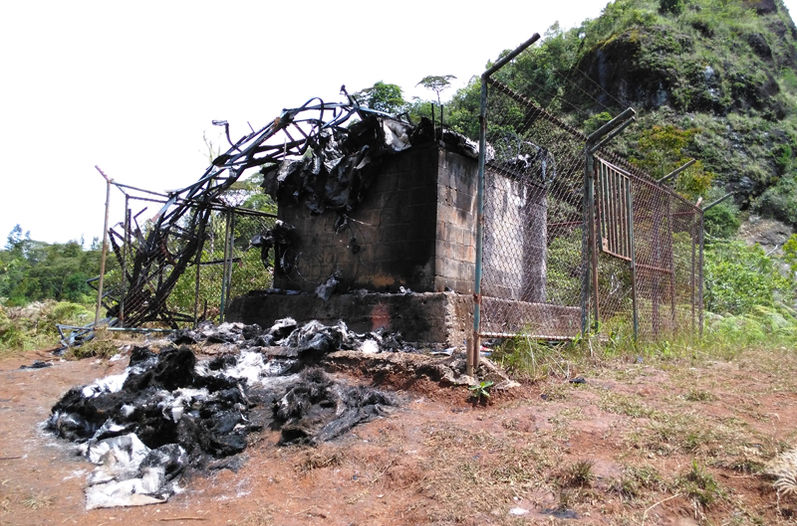 The charred remains after being hit by a lightning bold on Tuesday
