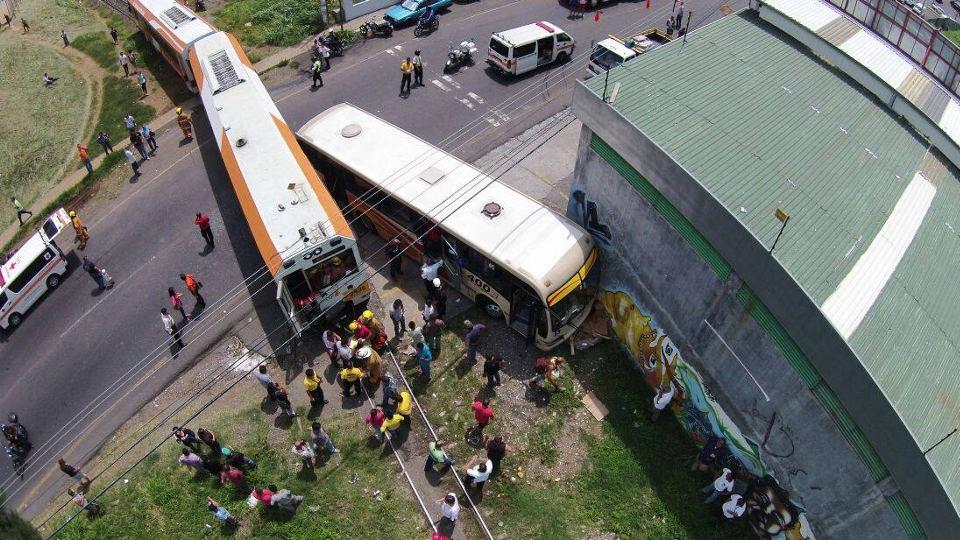 A Bird's Eye View of A Train/Bus Crash