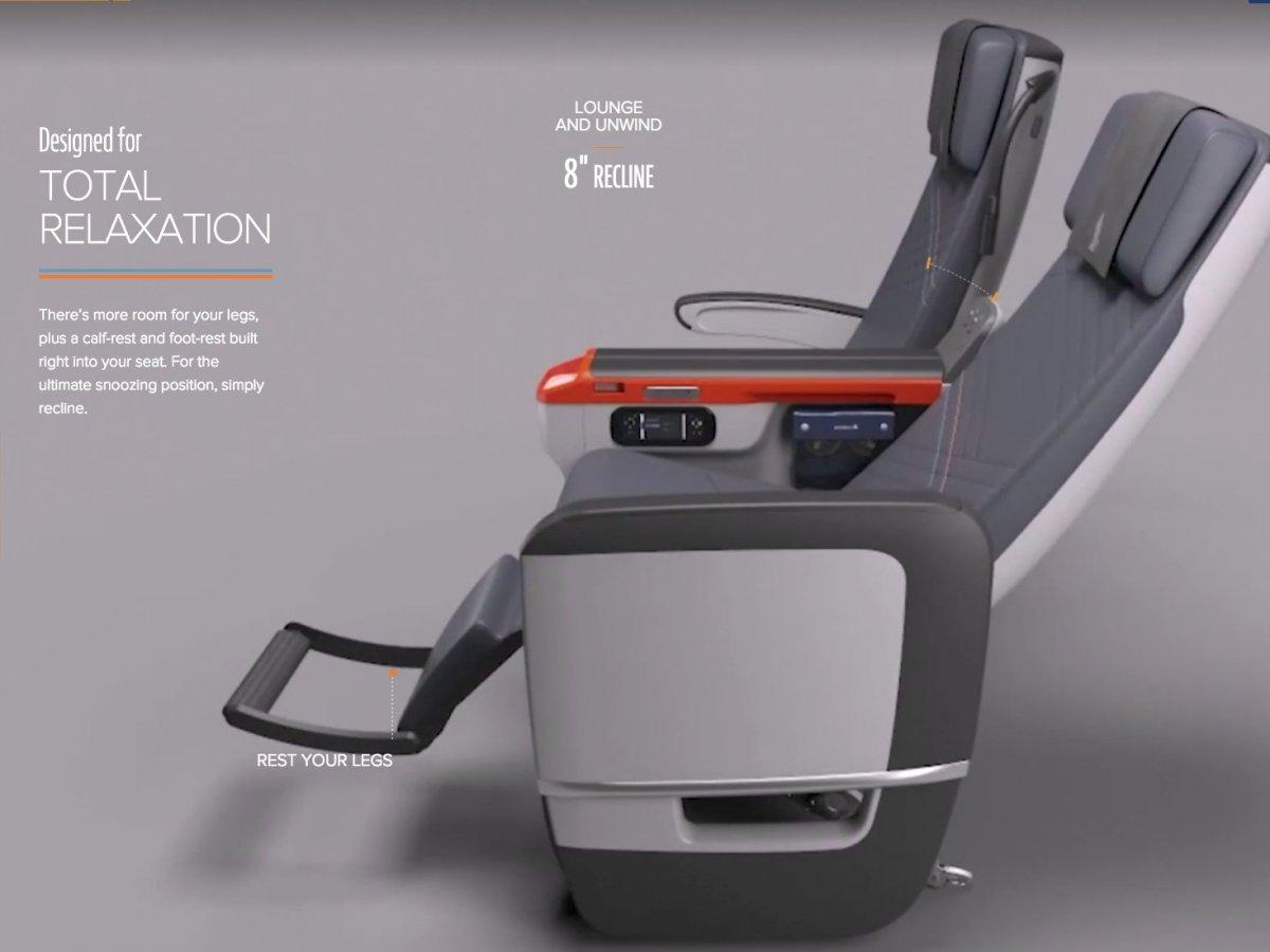 Singapore AirlinesSingapore Airlines' premium economy class seats.