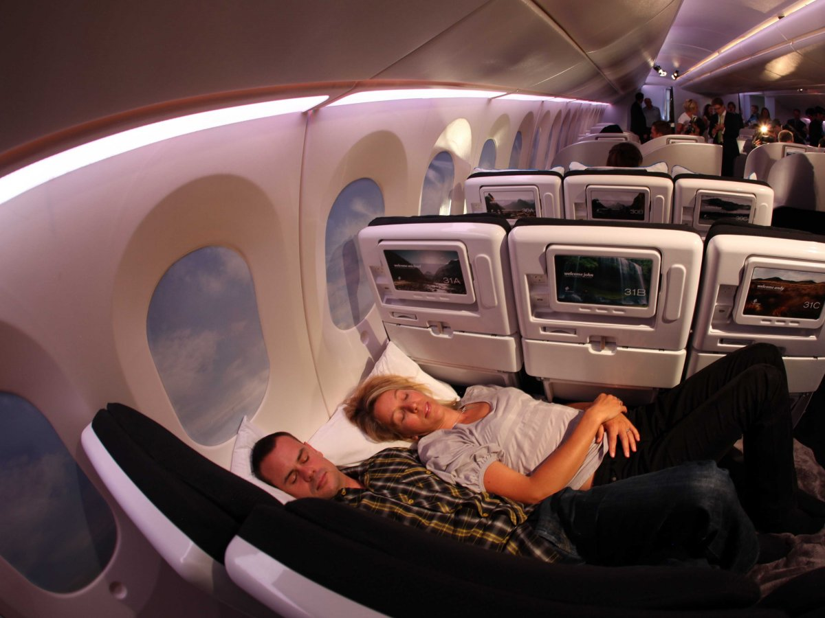 Flickr/Kent WienTwo people can lie on the flat seats in economy on Air New Zealand flights.