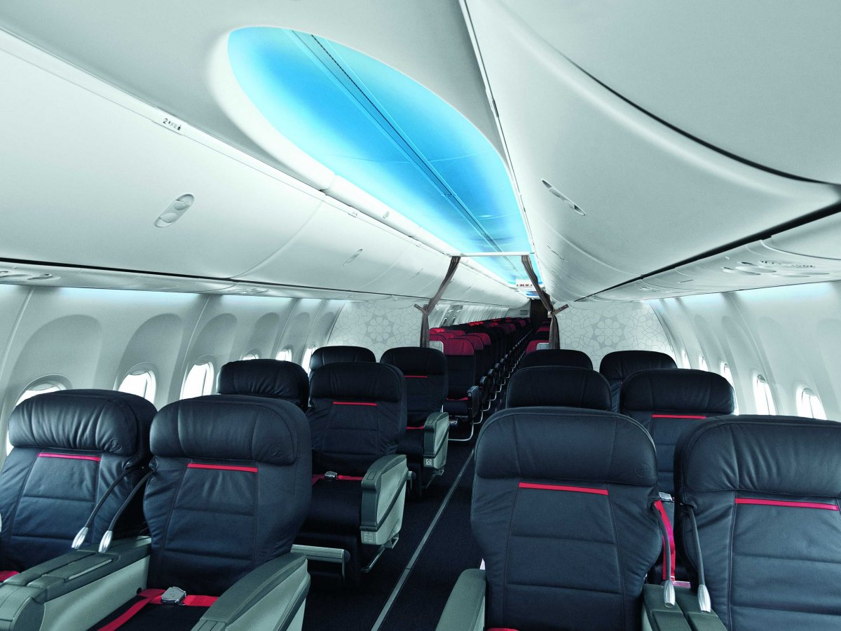 BoeingSome Boeing planes have ceiling panels lit with color LEDs to make the aircraft look larger and brighter.