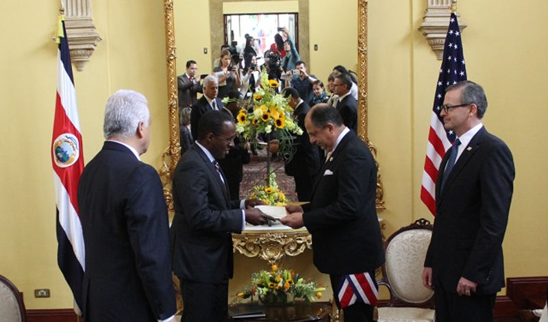Haney at the presentation of credential ceremony at Casa Amarilla (Foreign Ministry) on June 30. Photo: Ministerio de Relaciones Exteriores.