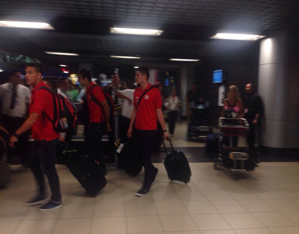 The Ticos, on Monday, arriving at the San Jose airport.