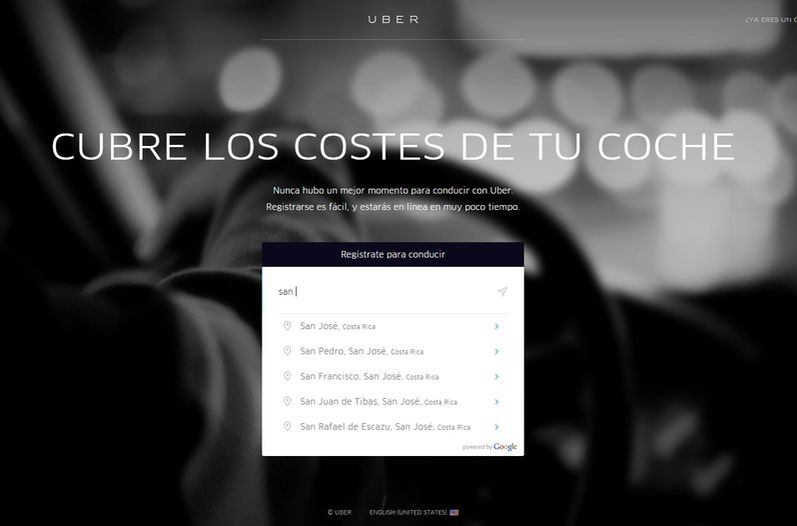 From Uber website taking applications from potential drivers in Costa Rica