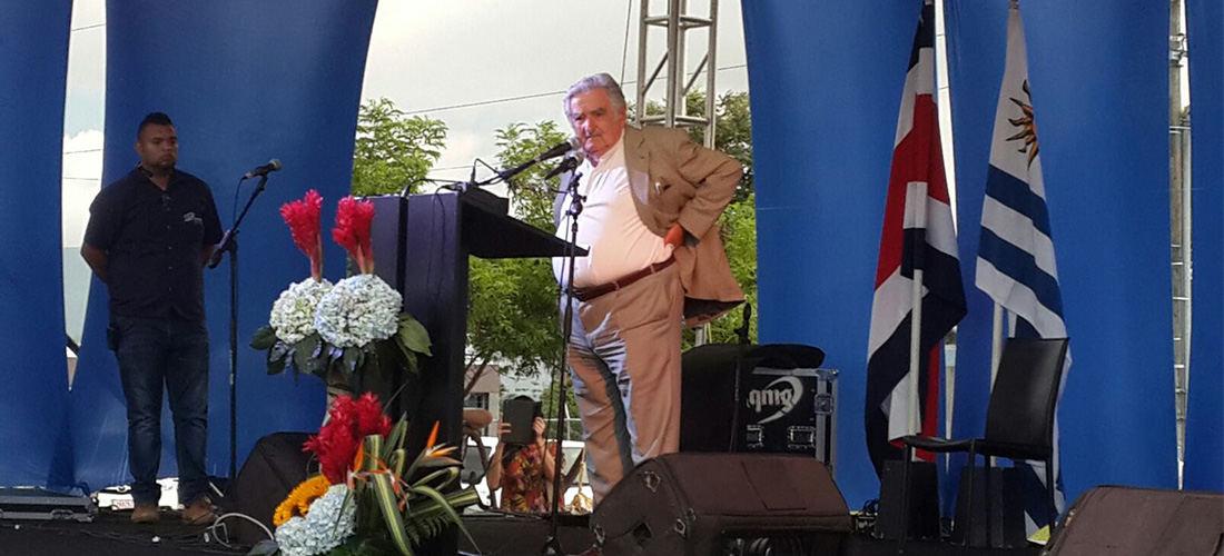 Jose Mujica, , giving a speech at the Universidad de Costa Rica last week