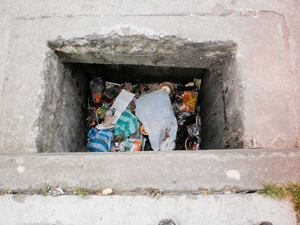 Litter filled storm sewers