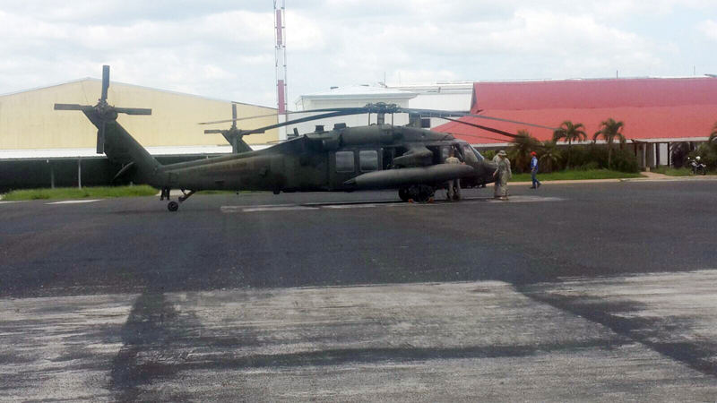 US military helicopter in Liberia on Sunday