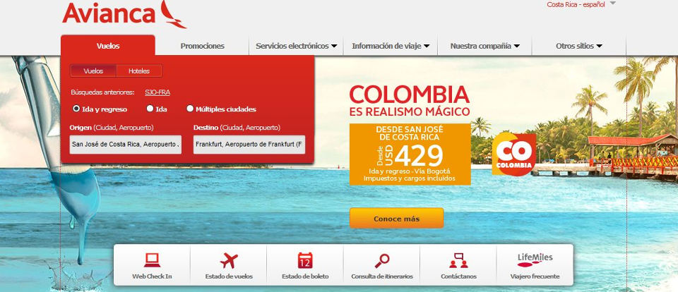 Avianca Cuts Prices To Colombia From San Jose Up to 50%