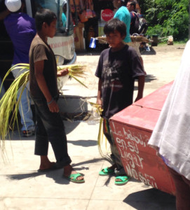 Kids selling things at the border