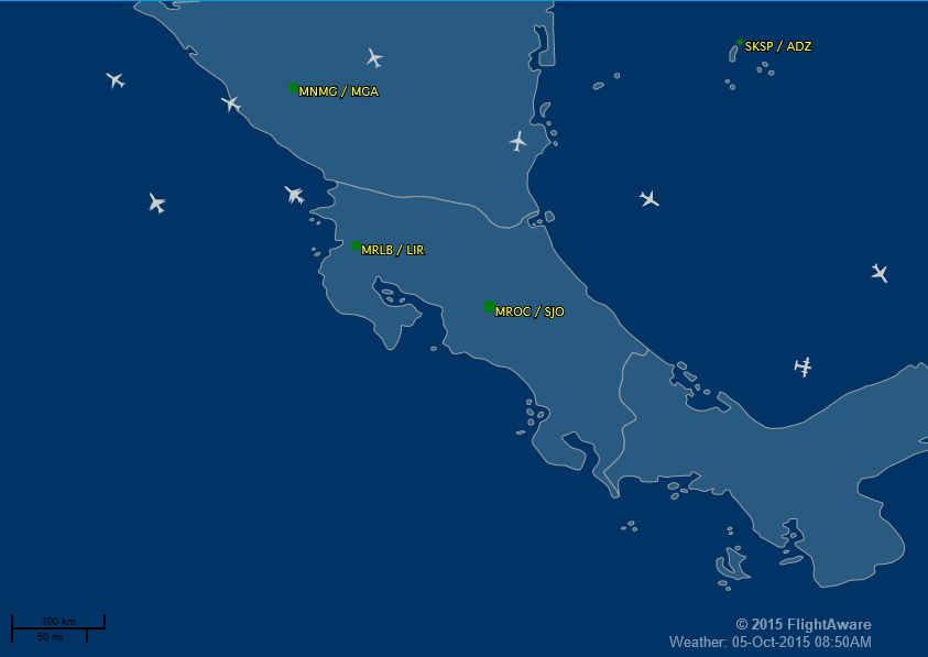 Nothing flying over me or Costa Rica this morning at a few minutes before 7:00am.