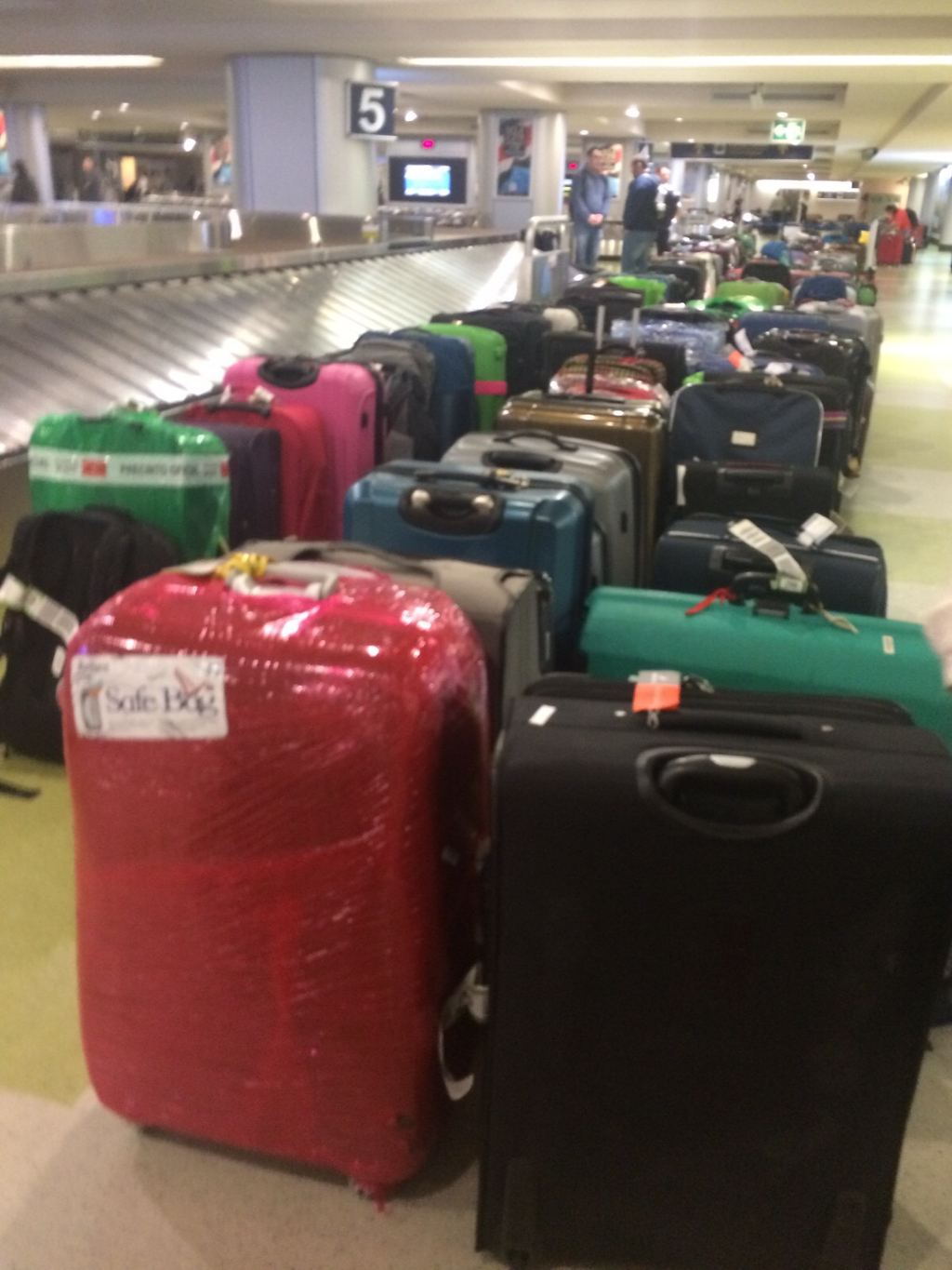 Typically passengers arriving have to wait for their luggage. The situation on Friday was reversed.