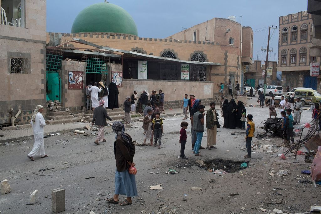 At least 32 people were killed when a suicide bomber attacked a mosque in Sana, Yemen, in September. Dozens have been killed in similar bombings over the last six months, carried out by Sunni Islamic extremists targeting mosques where Shiite Yemenis worship. Photo by: Tyler Hicks/The New York Times