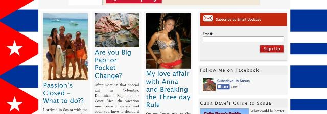 Screenshot of Cuba Dave's website prior to his arrest in Costa Rica