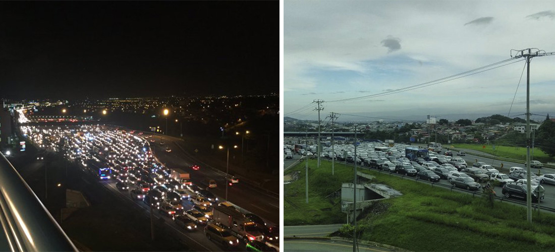 Typical daily congestion on the Ruta 27, east of the toll stations in Escazu. It starts around 4pm every day and continues to well past 7pm.
