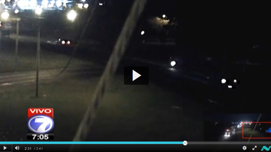 The dot is the motorcyclist crossing the highway just before being hit by an oncoming vehicle.