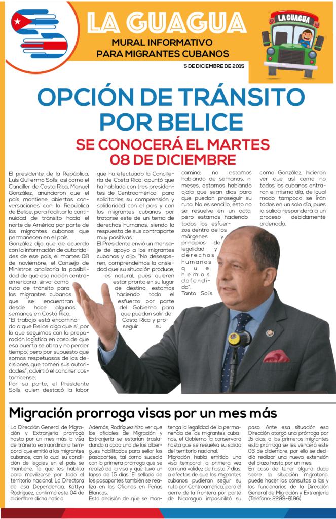 La Guagua, the governments news bulletin directed at the Cuban migrants in Costa Rica