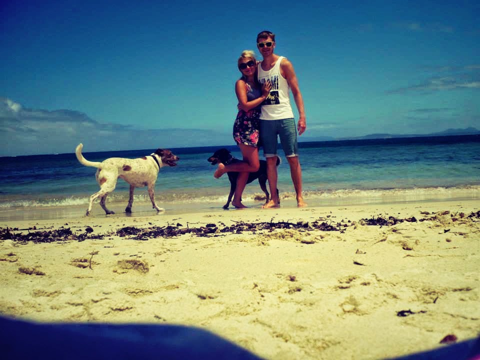 Laura and Tanbay at a private beach in Western Australia