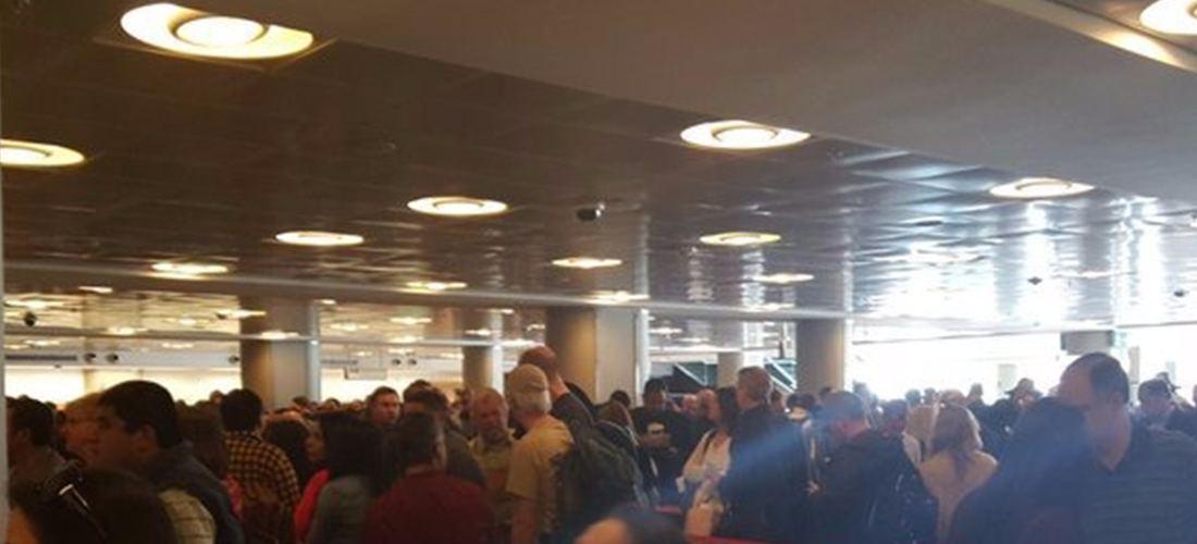 The arrivals hall at the Juan Santamaria (San Jose) airport mid-day Monday.